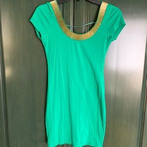 Green with gold accents dress